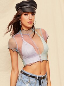 Lettuce Trim Sheer Crop Tee Without Bra