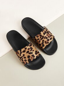 Leopard Print Open Toe Sliders