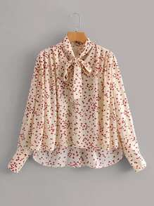 Tie Neck Heart Print High Low Blouse