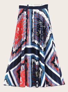 Scarf Print Flared Skirt