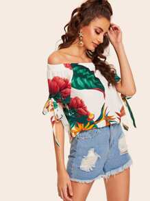 Off The Shoulder Knot Cuff Floral Print Blouse