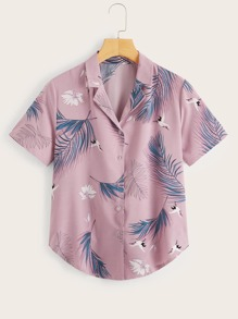 Leaf Print Curved Hem Shirt