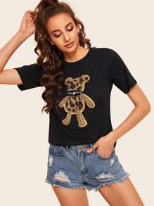 Pearl Beaded Leopard Patched Tee