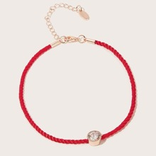 SHEIN | Rhinestone Detail Woven Anklet 1pc | Goxip