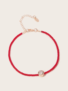 Rhinestone Detail Woven Anklet 1pc