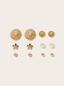 Textured Disc & Flower Stud Earrings 6pairs
