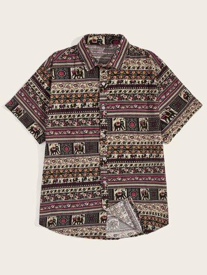 5bd0b899519 Men Tribal Print Curved Hem Shirt