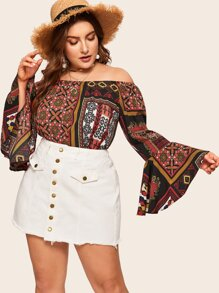Plus Off Shoulder Tribal Print Flounce Sleeve Blouse