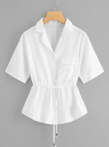 Plus Drawstring Waist Pocket Blouse