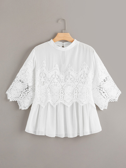 Plus Hollow Out Crochet Blouse