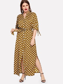 Plus Polka Dot Split Side Belted Shirt Dress