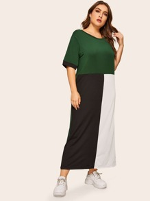Plus Contrast Panel Maxi Dress