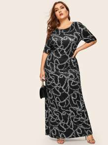 Plus Chain Print Maxi Dress
