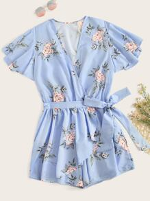Plus Surplice Front Floral Print Belted Romper