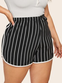 Plus Contrast Trim Striped Shorts