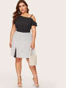 Plus Polka Dot Frill Top With Skirt