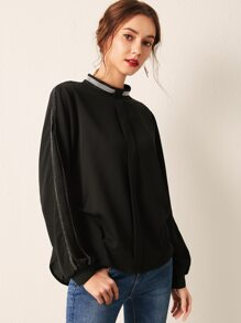 Single Breasted Back Contrast Mesh Sleeve Blouse