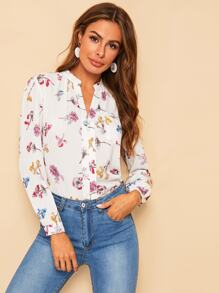 Flower Print Button Trim Blouse