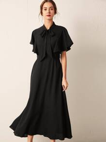 Tie Neck Butterfly Sleeve Belted Dress