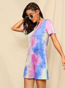 Random Tie Dye T-shirt Dress