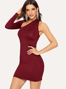 Solid One Sleeve Backless Dress