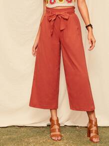 Frill Trim Self Tie Wide Leg Pants