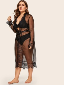 Plus Floral Lace Sheer Belted Robe
