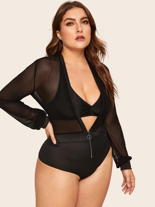 2dbfddbb3c Plus Zip Front Mesh Teddy Bodysuit Without Bra | SHEIN UK