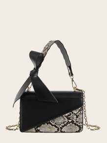 Snakeskin Detail Satchel Bag