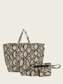 Snakeskin Print Tote Bag With Card Case 4pcs