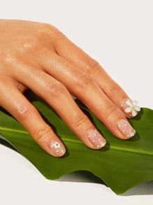 Flower Pattern Transparent Fake Nail With Tape 25pack