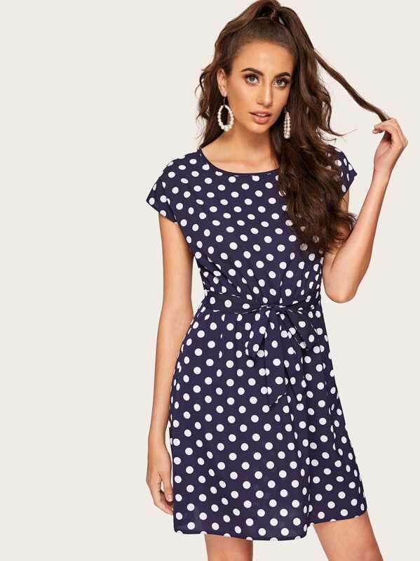 7dd535deb498 Polka Dot Batwing Sleeve Self Belted Dress