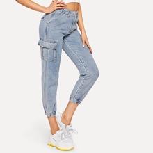 Bleach-Dye Flap Pocket Crop Jeans