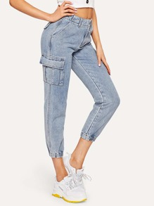 Bleach-Dye Crop Cargo Jeans