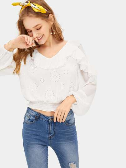 Shirred Waist Schiffy Ruffle Top