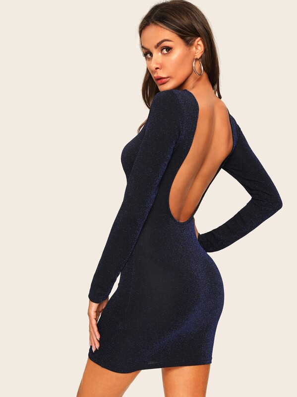 bb7f5671 Low Back Ribbed Glitter Dress   SHEIN UK