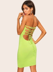 Lace Up Backless Neon Lime Tube Dress