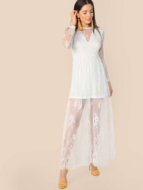bad3725970 Cheap Zip Back Floral Lace Overlay Long Dress for sale Australia | SHEIN