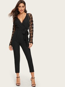 Guipure Lace Sleeve Wrap Belted Jumpsuit