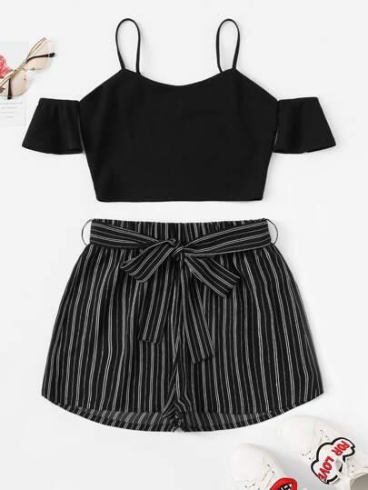 6449615705a Cold Shoulder Crop Top   Belted Pinstripe Shorts Set