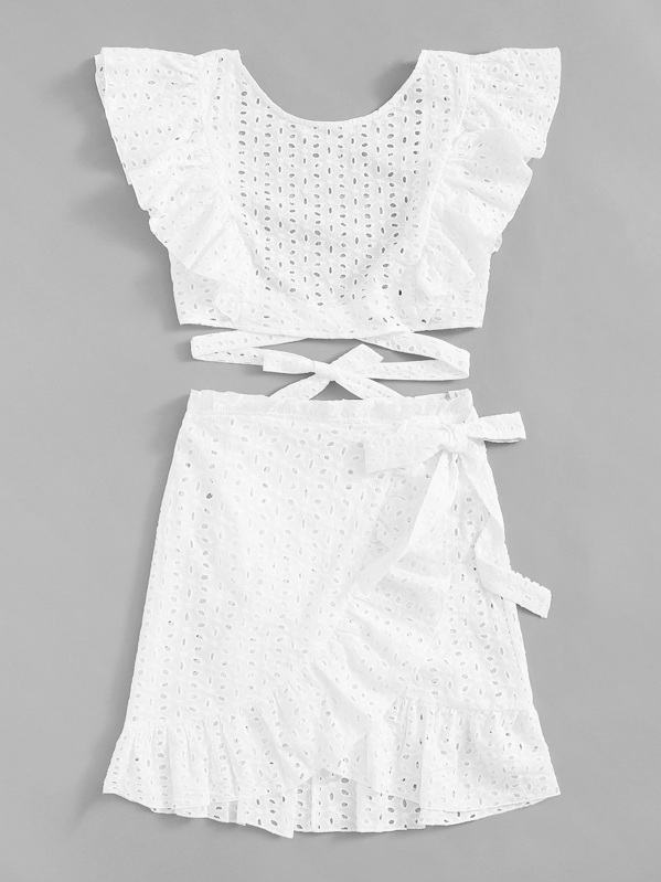 f24d53c1aa9624 Lace Eyelet Ruffle Knot Top & Wrap Belted Skirt Set   SHEIN