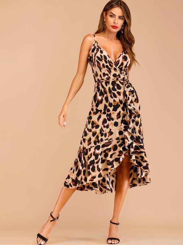 85c5b94feb1a Leopard Print Ruffle Hem Wrap Cami Dress | SHEIN UK