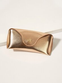Heart Buckle Detail Metallic Glasses Case