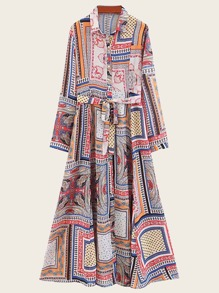 Self Tie Scarf Print Shirt Dress
