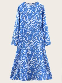 Leaf All Over Printed Dress