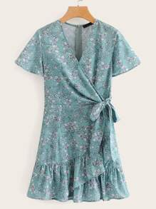 Ditsy Floral Tie Side Ruffle Dress