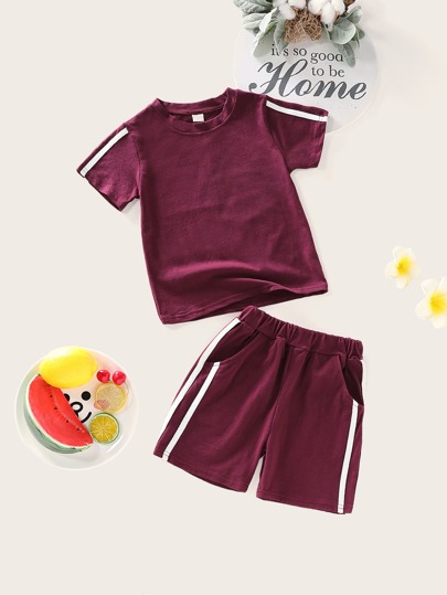 Toddler Girls Side Striped Tee With Shorts