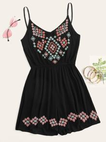 Tribal Embroidery Cami Romper