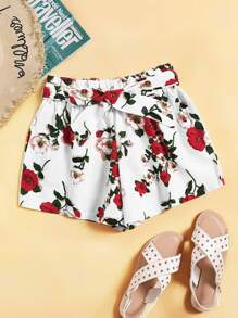 Floral Print Self Tie Shorts