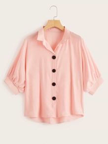 Button Front Dip Hem Blouse